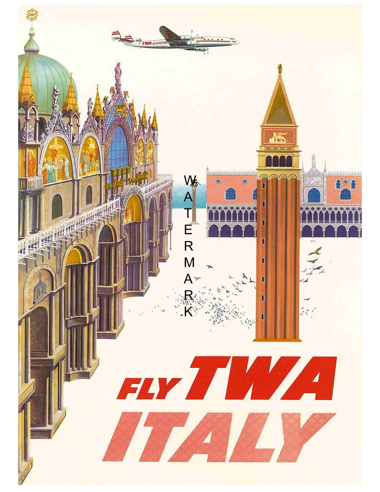 Vintage TWA Flights to Israel Airline Poster A3 Print