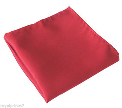 SOLID RED Handkerchief Only Pocket Square Hanky Wedding 100-O - $4.78