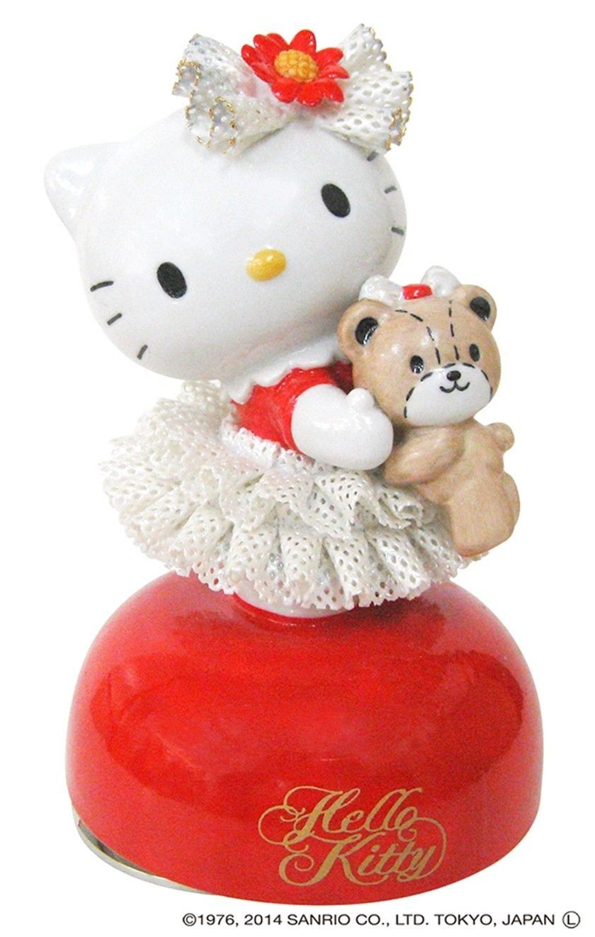 Hello Kitty 40th Ceramic Porcelain Lace Doll Music Box Red Japan Plush FigureNEW