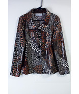SIMONTON SAYS BY GEORGE SIMONTON BLOUSE SHIRT WOMENS SIZE MEDIUM LEOPARD... - $23.51