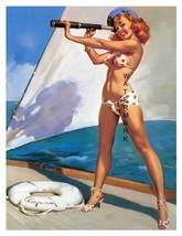 """SHIP AHOY"" 13 x 10 inch Vintage 1940's Sailor Girl Giclee Canvas Pin-up - $19.95"