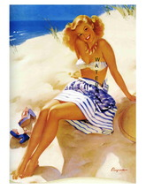 """BEACH BEAUTY"" 22 x 17 inch Vintage 1940's Lovely Girl Giclee Canvas Pin-up - $59.00"