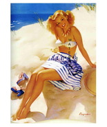 """BEACH BEAUTY"" 22 x 17 inch Vintage 1940's Love... - $59.00"