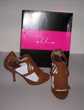 Ellie Suede Fringe Open Toe Heels Brown Shoes Womens Size 5 New in Box!  - $26.95