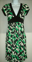Forever Womens Dress Size Small Green Black Empire Waist Plunging Neckline  - $21.55