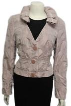 Giorgio Armani Women Metallic Pink Salmon Short Fashion Coat Jacket Leav... - $489.99