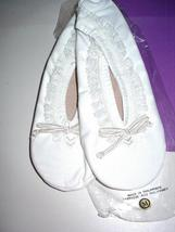 ISOTONER Comfort Slippers Lace Trim Medium 6-1/2 7-1/2 White New in box ... - $49.99