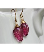 Pink Leaf Carved Gemstone earrings - $38.00