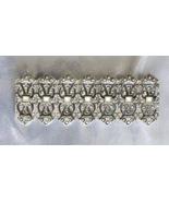 Elegant Art Deco Style Crystal Rhinestone Silvery Bar Brooch 1970s vintage - $12.95