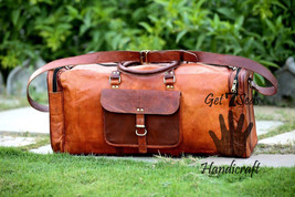 """22"""" Large Aircabin Men's Retro Genuine Leather luggage Travel Duffle Gym Bag - $114.55"""
