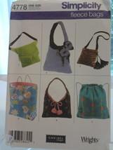 Simplicity 4778 Elaine Heigl small & large Hobo Bag, Backpack, Hip Bag Dtd 2004  - $6.99