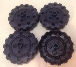 Plastic Tinker Toys Parts- 4 LARGE BLACK WHEELS Wood Set Replacement Pieces - $7.75