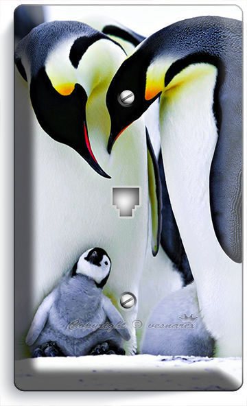 KING PENGUINS COUPLE CUTE BABY PHONE TELEPHONE WALL PLATE COVER ROOM HOME DECOR