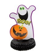Pumpkin BOO ! Halloween Party Honeycomb Centerpiece Ghost - $3.60