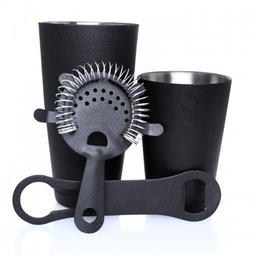 Black grip 4 piece 18 oz weighted cocktail shaker set jb