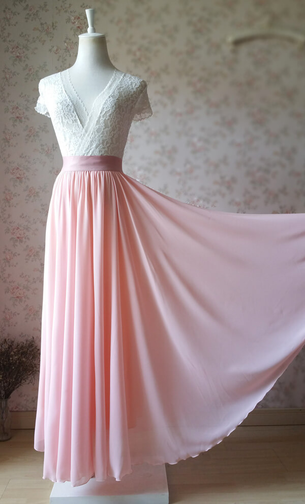 Blush Pink Chiffon Maxi Skirt Wedding Chiffon Skirt Floor Length Pink Skirt