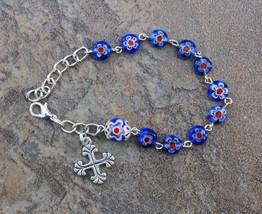 Silver - Cross - 8mm Blue Murano Glass One Decade Catholic Rosary Bracelet - $7.99