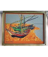Vintage Van Gogh Boats on Beach Needlepoint Framed Metal Tag - $49.95