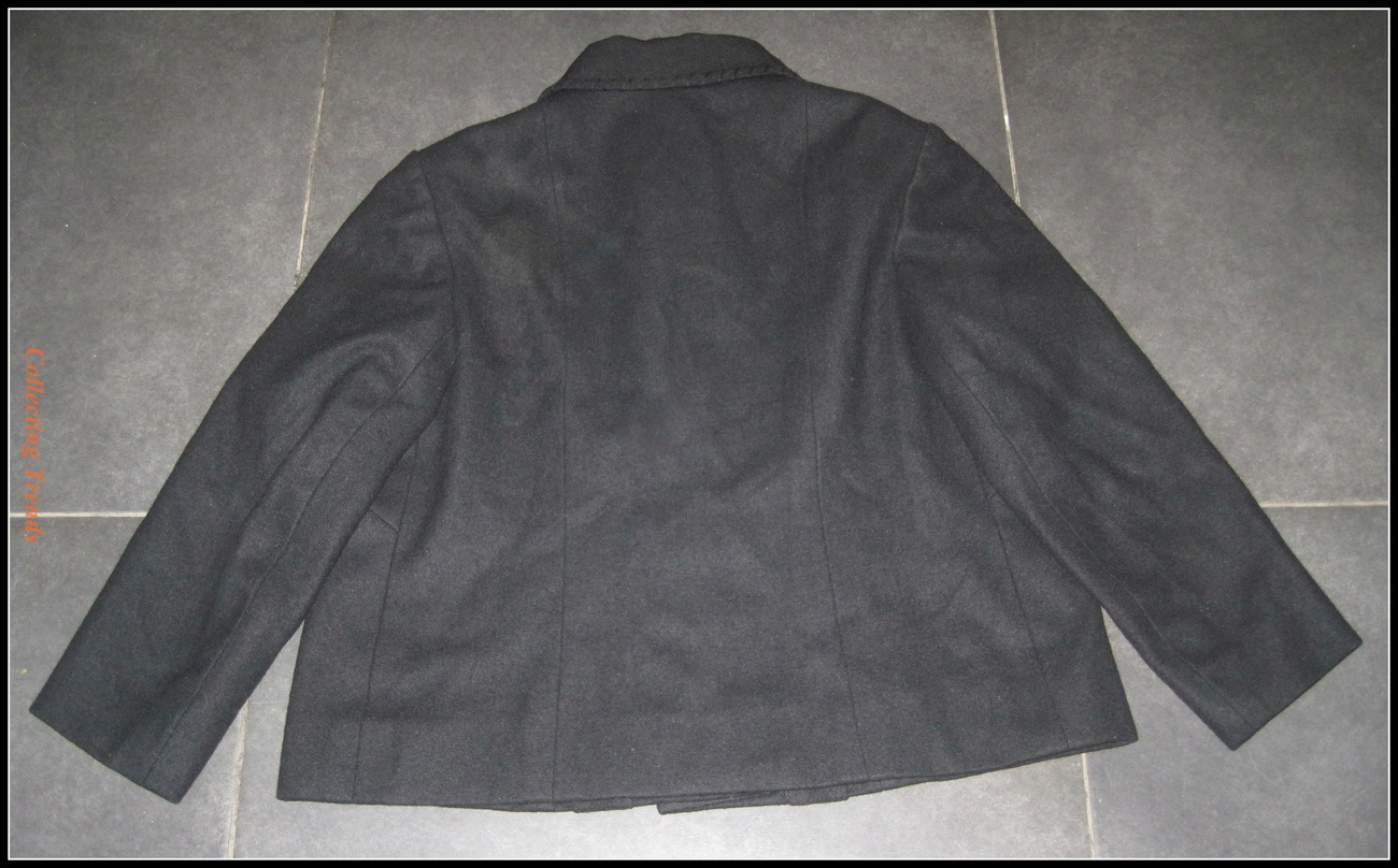 Women's Vintage Black Wool Heavy Warm Coat Cropped Lined L/XL GORGEOUS!!
