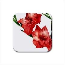 Red Gladiolus Flowers Non-Slip Coaster Set - $6.74
