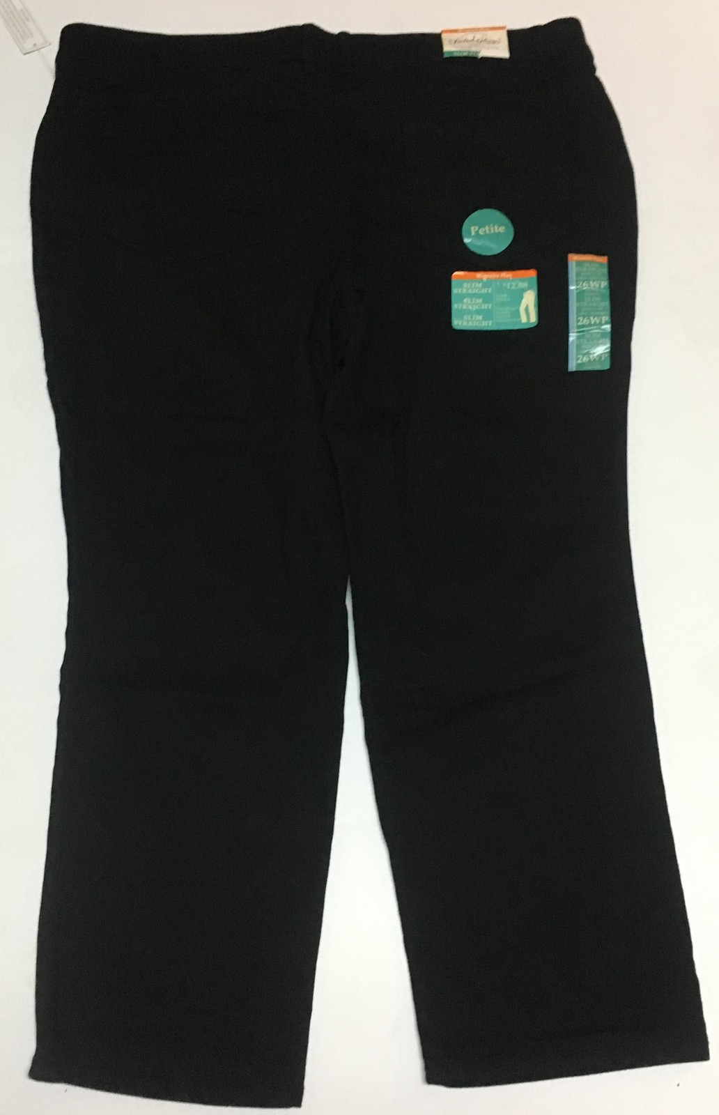 Faded Glory Black Jeans Sz 26WP NWT Slimming Fit