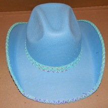 """Halloween Costume Adult Sequin Cowboy Hat 23"""" Or7 1/4"""" Size Blue Fun World 119C - $12.49"""
