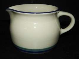 Pfaltzgraff Northwinds Syrup Pitcher Garvey Boat  Stoneware USA Blue Green Bands - $25.73