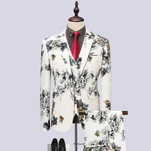 "(Jacket+Vest+Pants) 2018 Flower color Men Suits Fashion Men""s Slim Fit b... - $133.70"