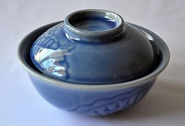 "CERAMIC BOWL with LID Blue Floral Pattern Asian Imported 6"" Diam 2.3"" He... - $24.30"