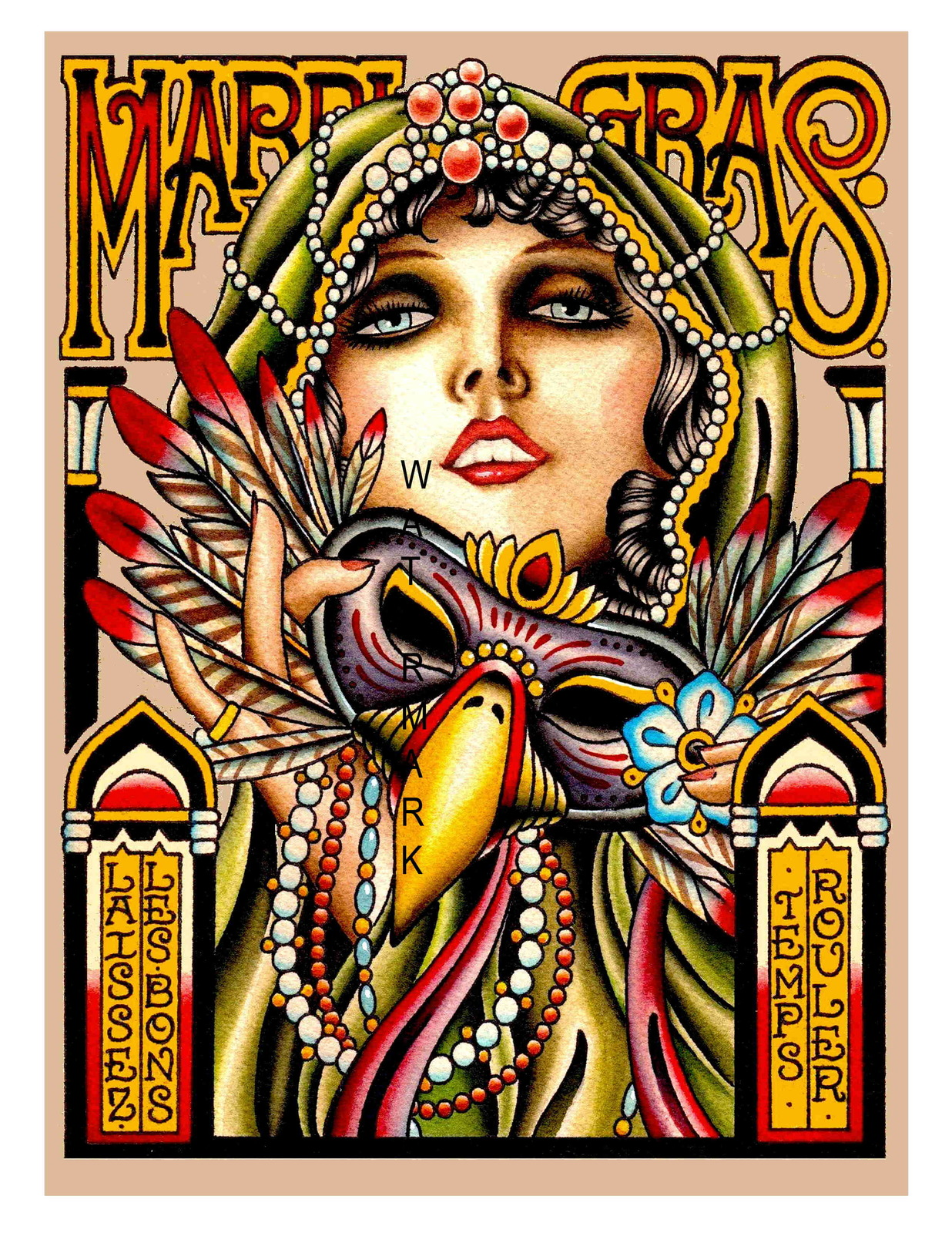 New Orleans Vintage Mardi Gras Advertising 13 x 10 inch Giclee CANVAS Print