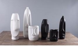 Modern Human Face Ceramic Vase Home Decoration Head Shaped Figure Flower... - $39.99+