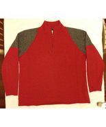 Cousin Johnny Wool Angora Blend 1/4 Zip Pullover Sweater Red w/ Grey - $19.99