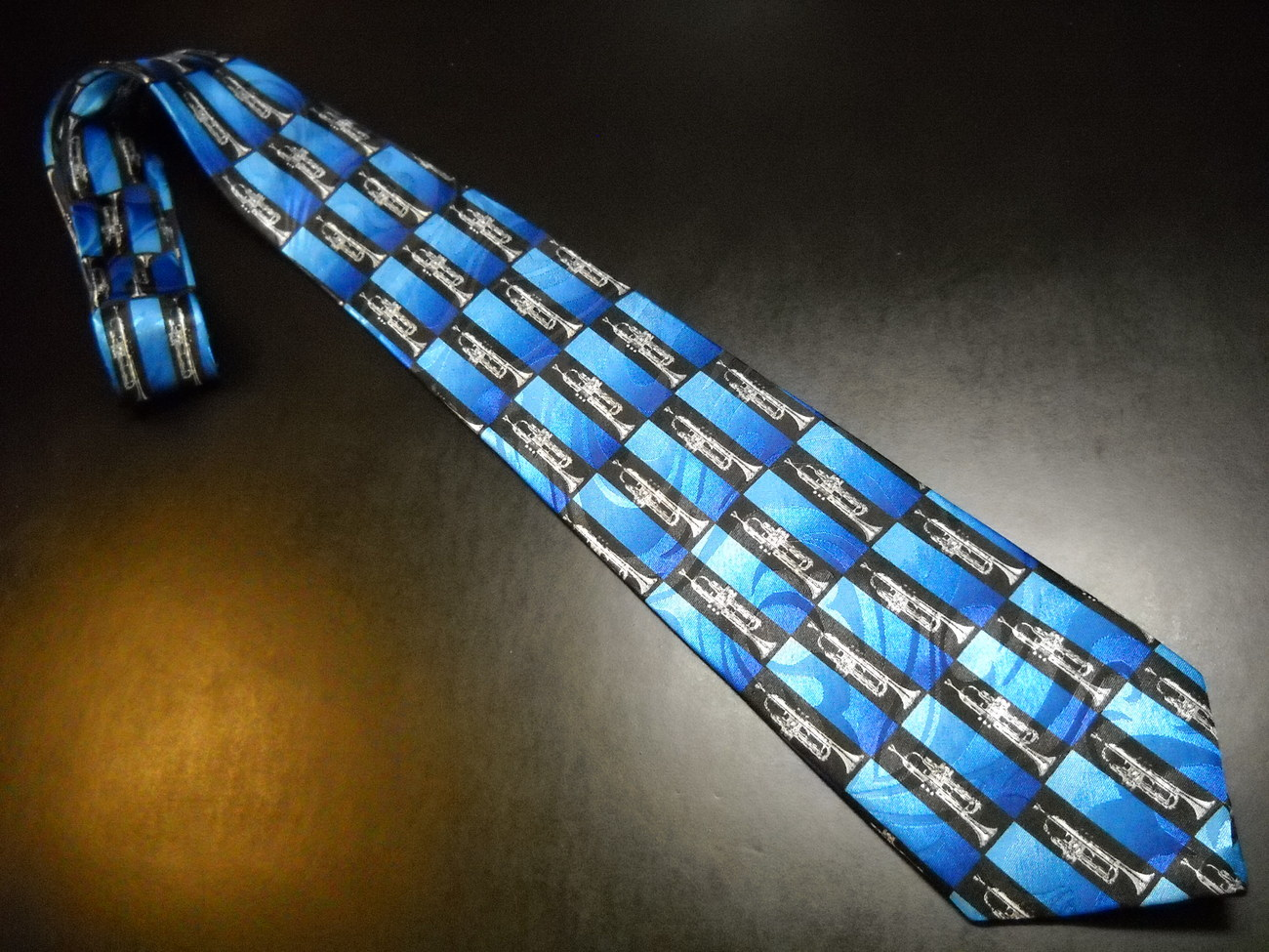 Steven Harris Neck Tie Hand Made Silver Trumpets on Black and Blue Polyester - $11.99