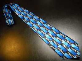 Steven Harris Neck Tie Hand Made Silver Trumpets on Black and Blue Polye... - $11.99