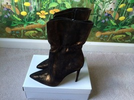 Via Spiga Bronze Black Fashion Heels Boots SZ 7.5 NEW - $128.69