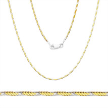 14k Yellow Gold .925 Sterling Silver 1.2mm Herringbone Link Rope Chain Necklace - $38.59+