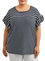 Terra & Sky Women's Scoop Neck Ruffle Sleeve Shirt 3X (24-26W) Stripe Bl... - $15.83