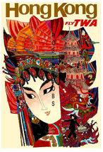 TWA Airlines 13 x 10 inch Vintage Visit Hong Kong Advertising Canvas Print - $19.95