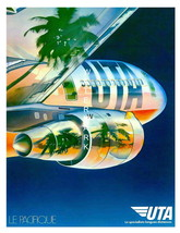 UTA Airlines 13 x 10 inch Vintage Fly to the Tropics Advertising Canvas ... - $19.95