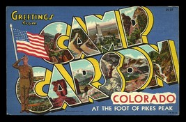 Camp Carson Postcard Colorado Scenic Large Letter Greetings Flag Soldier... - $14.99