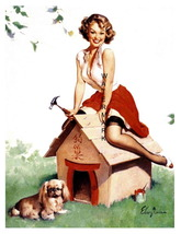 """CUTE PUPPY"" 13 x 10 inch Vintage 1940's Dog House Girl Giclee Canvas Pi... - $19.95"