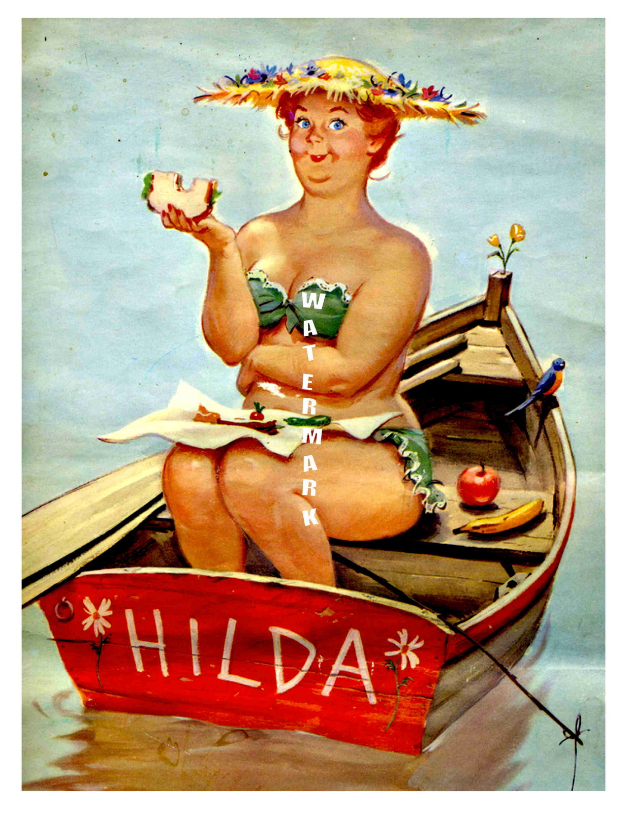 """HILDA"" 13 x 10 inch Vintage Eating and Boating Giclee Canvas Pin-up"
