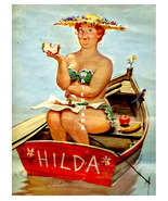 """HILDA"" 13 x 10 inch Vintage Eating and Boating... - $19.95"