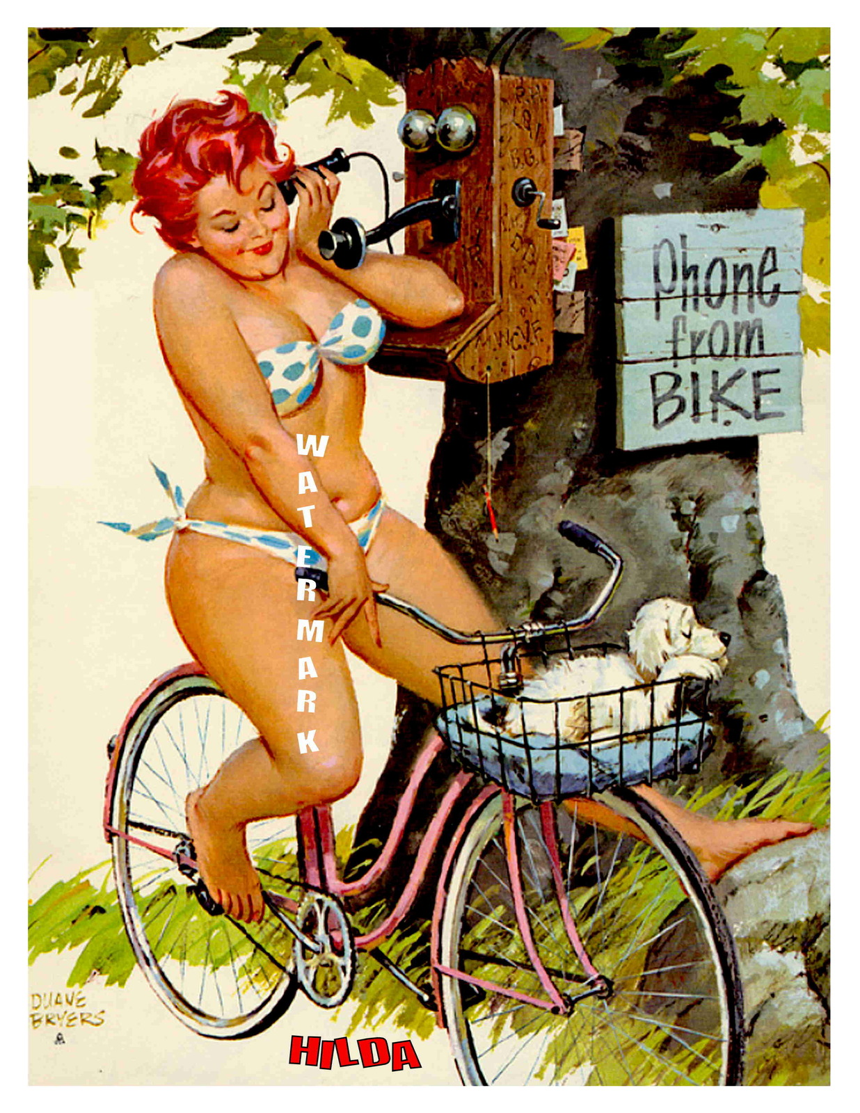 """HILDA"" 13 x 10 inch Vintage Phoning While Cycling Giclee Canvas Pin-up"