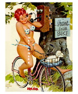 """HILDA"" 13 x 10 inch Vintage Phoning While Cycling Giclee Canvas Pin-up - $19.95"