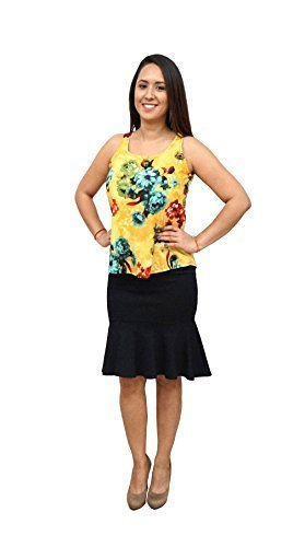 DBG Women's Hawaiian Flowers Sleeveless Scoop Neck Polyester Blouse-Large