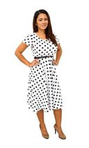 DBG Women's Short Sleeve Scoop Neck Polyester Dress (5X, White Black Pol... - $35.63