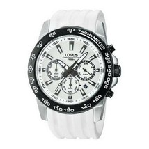 Lorus Men's Watch Stainless Steel Rubber Band Chronograph Tachymeter RT3... - $154.62