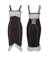 Size 28 Black & White Polka Dot Pin-up Pencil Wiggle Dress ~ 1950's ~ 4X - $42.95