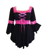 5X 26 28  Pink & Black Long Sleeve Renaissance Corset Top w Lace Trim Pl... - $39.03